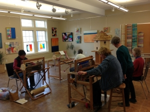 Weaving in the Gallery at FALMOUTH Artist Guild